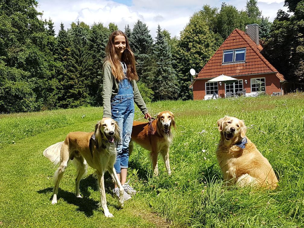 Gartenansicht mit Mädchen und Hunden
